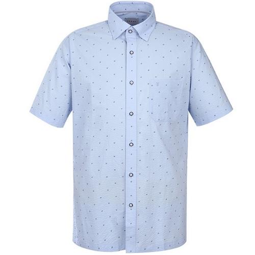 패션그룹형지 예작 더블 사각프린트 일반핏 반소매 셔츠 YJ8MBA812BL_이미지