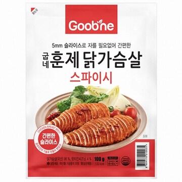 지앤몰 굽네 스파이시 훈제 닭가슴살 슬라이스 100g (10개)