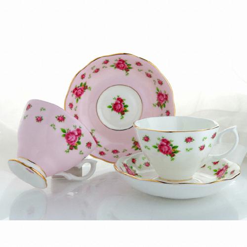 로얄알버트 뉴황실장미 커피잔 핑크&화이트(2인조)