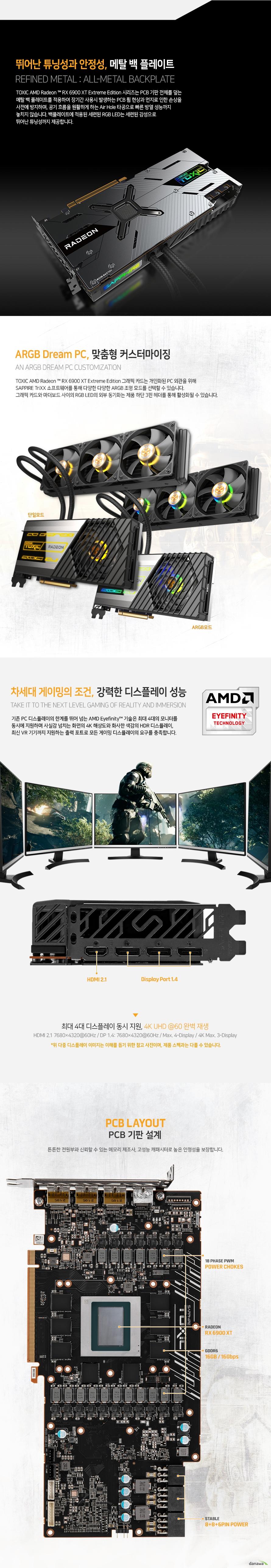 SAPPHIRE 라데온 RX 6900 XT TOXIC OC D6 16GB Extreme Edition