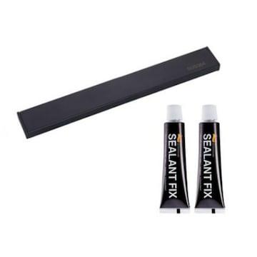 수앤컴퍼니 모나코올리브 무타공 메탈라인 자석 칼걸이 블랙 30cm +접착제2P_이미지