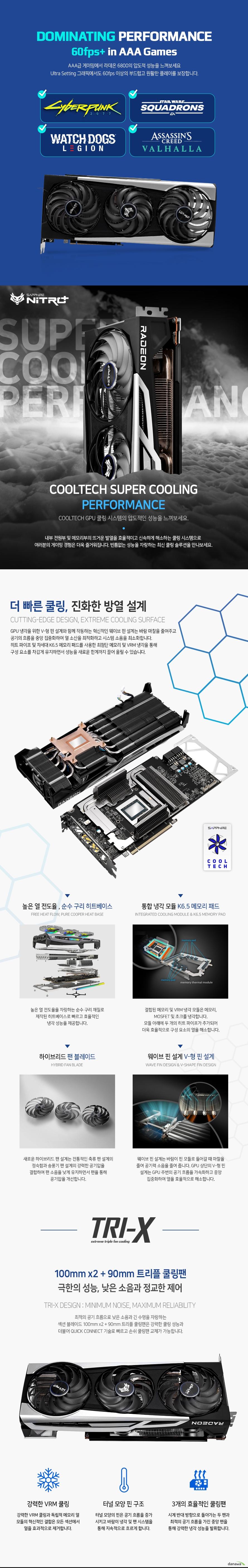 SAPPHIRE 라데온 RX 6800 XT NITRO+ Special Edition OC D6 16GB Tri-X