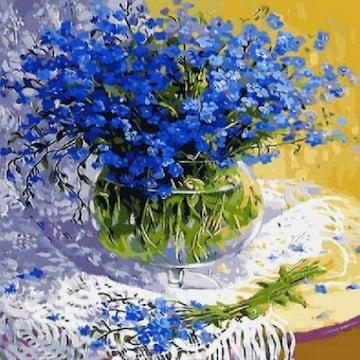 피포페인팅 DIY 명화그림그리기 Q052 파란 패랭이 꽃