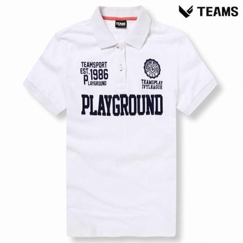 팀스폴햄 공용 로고 반팔 카라 티셔츠 TPU2TT3031_WT_이미지