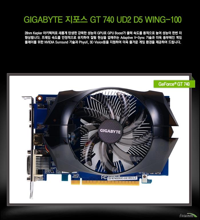 GIGABYTE 지포스 GT 740 UD2 D5 WING-100 상세스펙