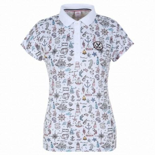 JDX골프  여성 마린올오버 프린트 드롭숄더 티셔츠 X2QMTSW83WH_이미지