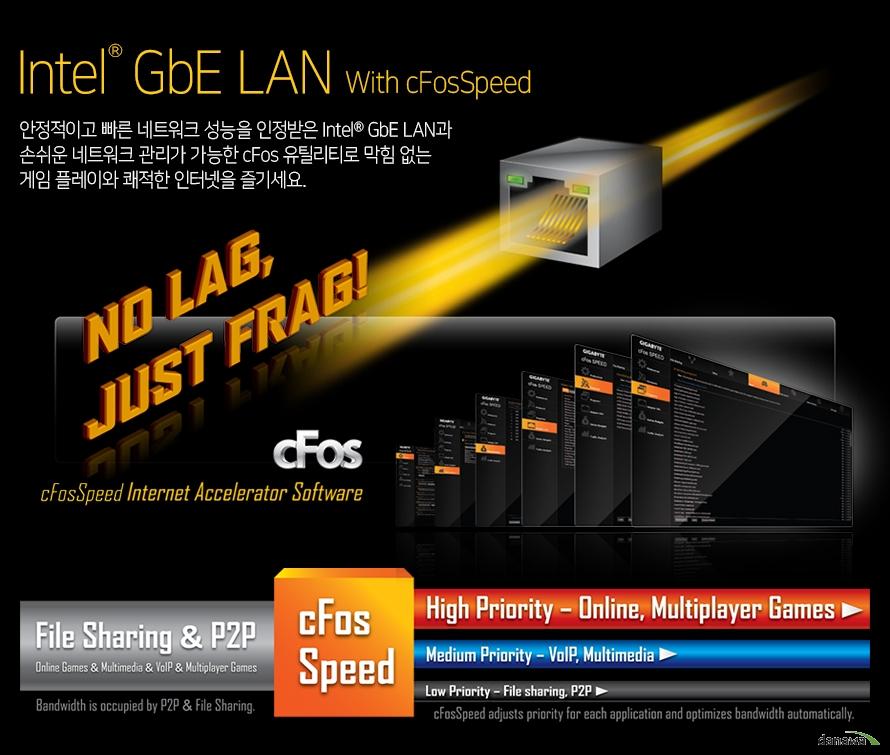 안정적이고 빠른 네트워크 성능을 인정받은 Realtek GbE LAN과 손쉬운 네트워크 관리가 가능한 cFos 유틸리티로 막힘 없는 게임 플레이와 쾌적한 인터넷을 즐기세요.