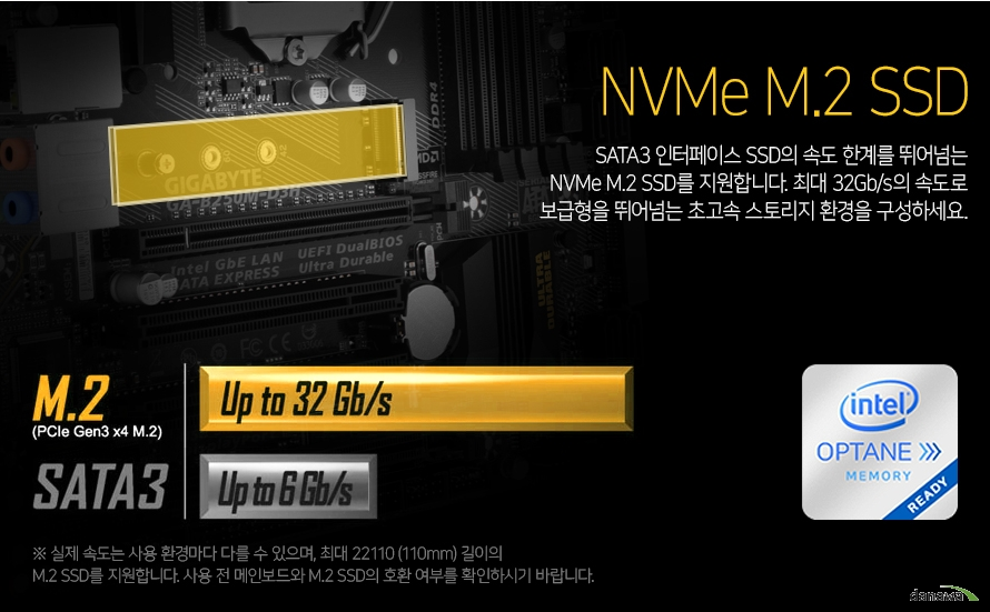 SATA3 인터페이스 SSD의 속도 한계를 뛰어넘는 NVMe M.2 SSD를 지원합니다. 최대 32Gb/s의 속도로 보급형을 뛰어넘는 초고속 스토리지 환경을 구성하세요.