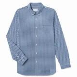 동일드방레 라코스테 남성 포플린 깅엄 체크 슬림 셔츠 CH7516-18A (파랑)_이미지