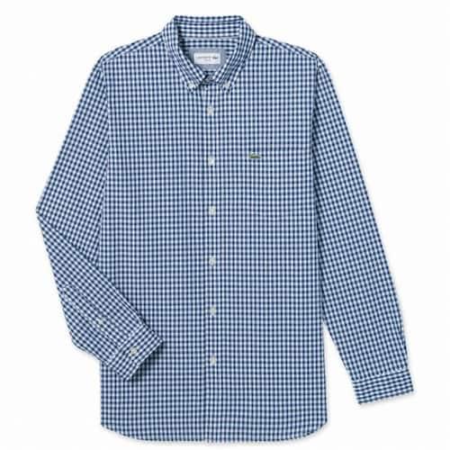 동일드방레 라코스테 남성 포플린 깅엄 체크 슬림 셔츠 CH7516-18AHFA_이미지
