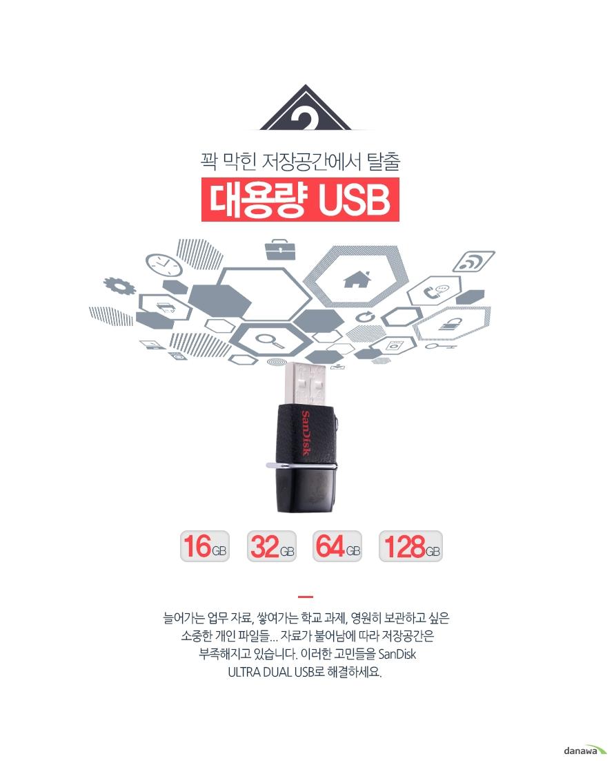 꽉 막힌 저장공간에서 탈출 대용량 USB / 16GB / 32GB / 64GB / 128GB / 256GB / 늘어가는 업무 자료, 쌓여가는 학교 과제, 영원히 보관하고 싶은 소중한 개인 파일들... 자료가 불어남에 따라 저장공간은 부족해지고 있습니다. 이러한 고민들을 SanDisk ULTRA DUAL USB로 해결하세요.