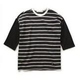 지엔코 엘록 남성 루즈핏 7부 와플 보더 티셔츠 E162MTS130M_이미지