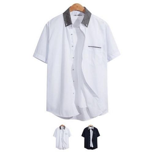 비케이커머스 모니즈 카라 체크 포켓 반팔 셔츠 SHT076_이미지