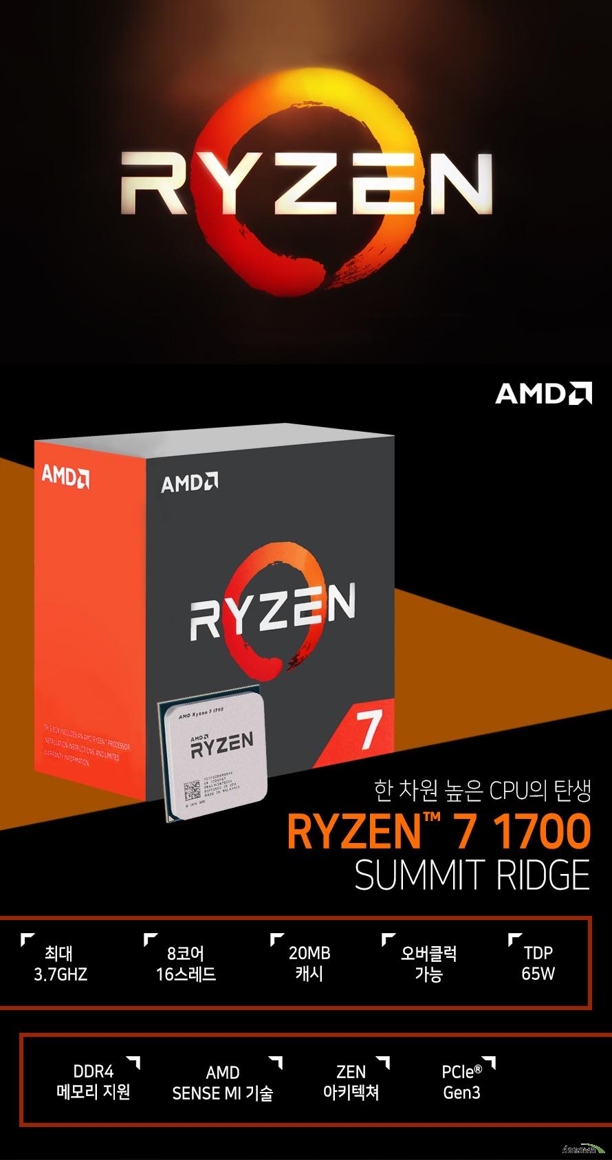 한 차원 높은 CPU의 탄생         RYZEN 7 1700         SUMMIT RIDGE                  최대 3.7GHZ          8코어 16스레드         20MB 캐시         오버클럭 가능         TDP 65W         DDR4 메모리 지원         AMD SENSE MI 기술         ZEN 아키텍쳐         PCle Gen 3