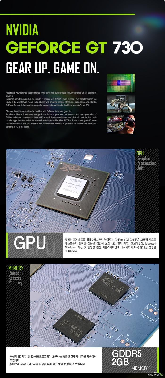 GIGABYTE 지포스 GT730 UD2 D5 2GB 블랙펄 제품 기술설명