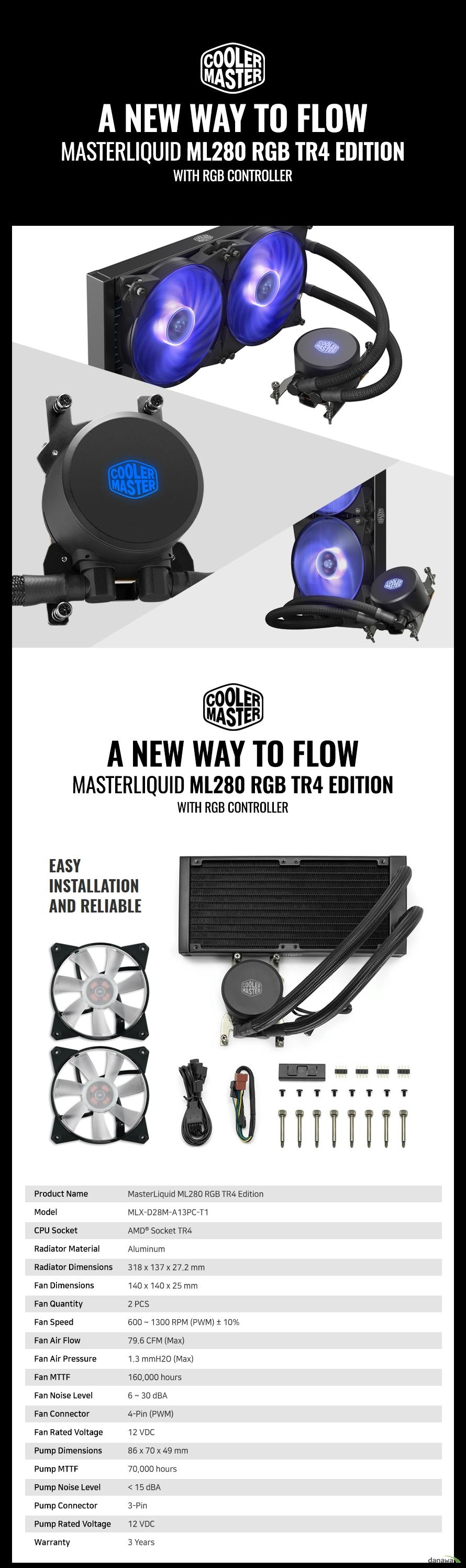 쿨러마스터  MasterLiquid ML280 RGB TR4 EDITION