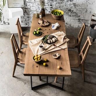 매스티지데코 마이 시그니처 런더너 우드슬랩 식탁세트 1800 (의자4개)_이미지