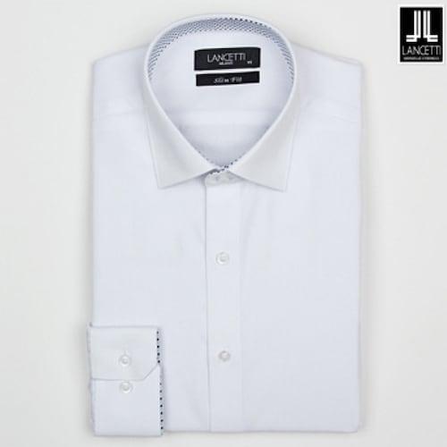 란체티  블루 트윌 솔리드 슬림핏 긴소매 셔츠 LPS7840WH_이미지