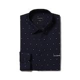 루이까또즈  긴소매 네이비 필라필 아가타프린트 슬림 셔츠 Q7C35CH_이미지