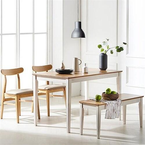 한샘  로하콤비 비트윈의자 식탁세트 1200 (의자2개+벤치1개)_이미지
