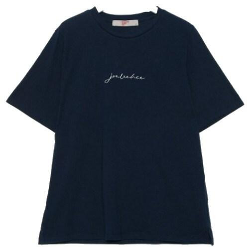 에잇세컨즈 여성 네이비 코튼 레터링 엠브로이더리 반소매 티셔츠 329742LYGR_이미지