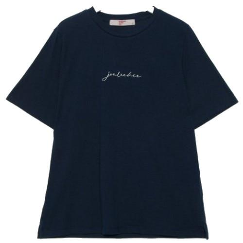 에잇세컨즈 네이비 코튼 레터링 엠브로이더리 반소매 티셔츠 329742LYGR_이미지