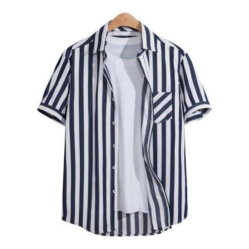 비케이커머스 모니즈 스트라이프 포켓 반팔 셔츠 SHT081_이미지