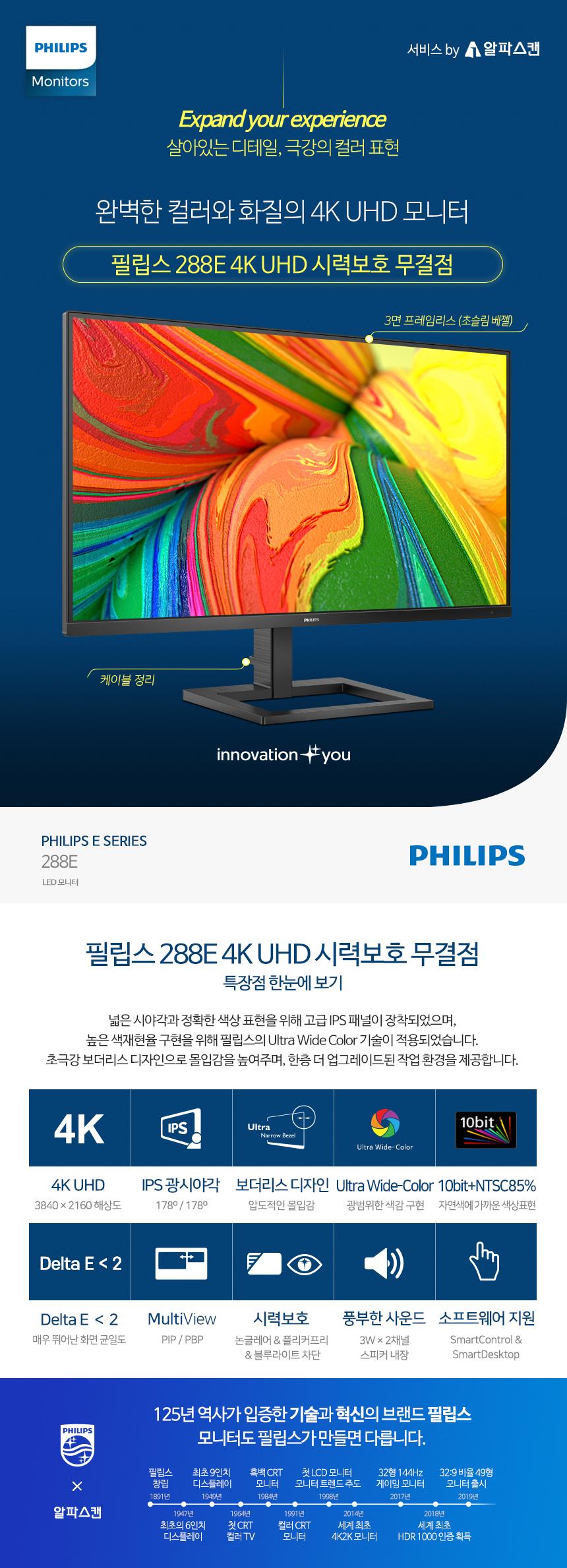 필립스 288E 4K UHD 시력보호 무결점