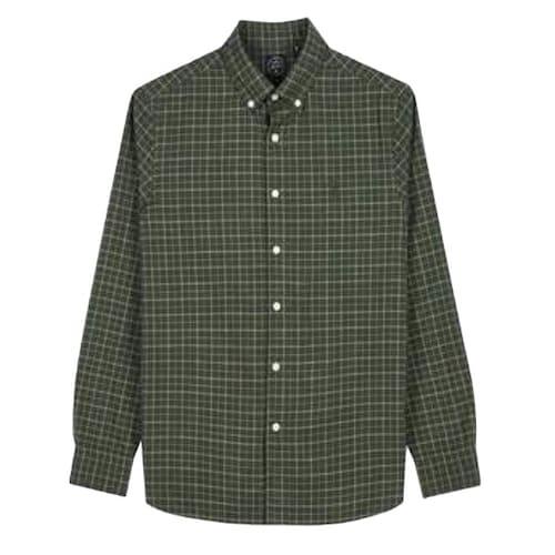 LF 헤지스(HAZZYS) 카키 체크 면 긴팔 캐주얼 셔츠 HZSH7D405K2_이미지
