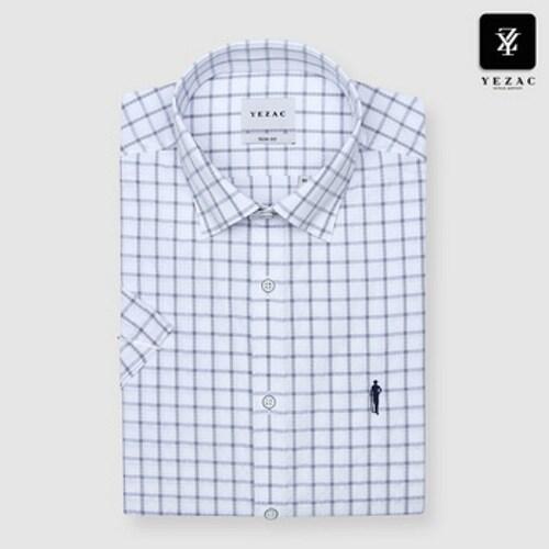 패션그룹형지 예작 블루 사각체크 슬림핏 반소매 셔츠 YJ8MBS627BL_이미지