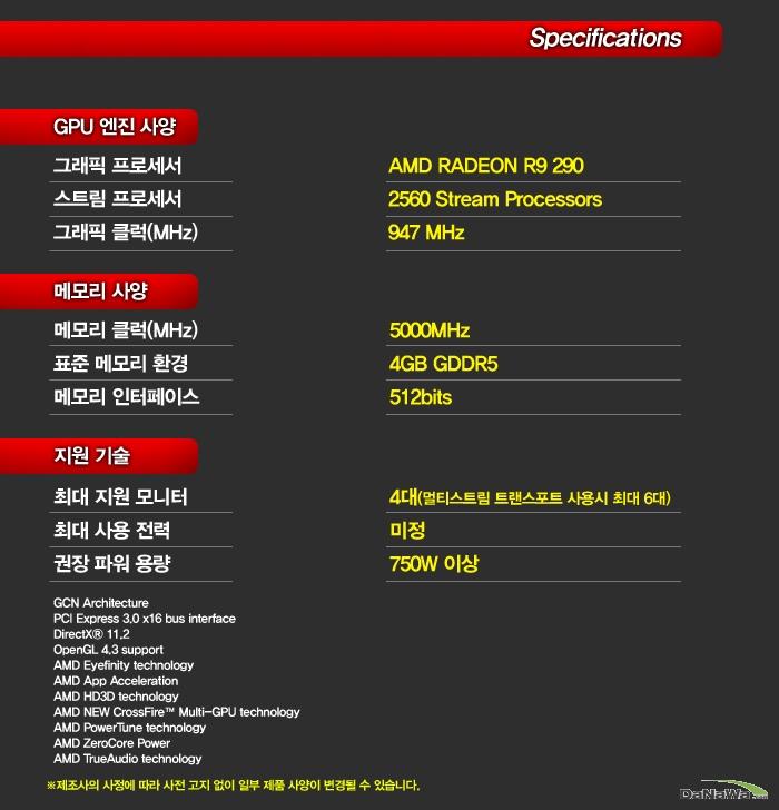 SAPPHIRE 라데온 R9 290 D5 4GB 제품 스펙
