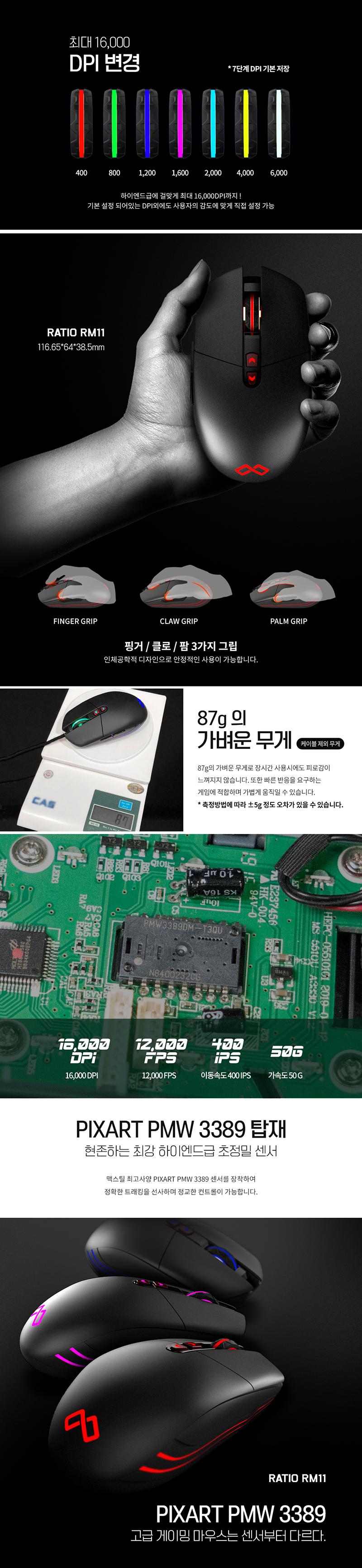 MAXTILL RATIO RM11 PMW 3389 게이밍 마우스