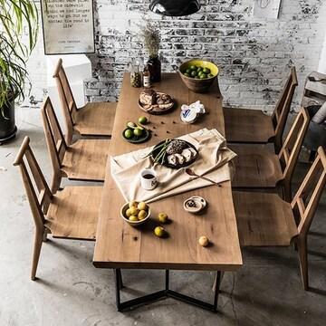 매스티지데코  마이 시그니처 런더너 우드슬랩 식탁세트 1800 (의자6개)
