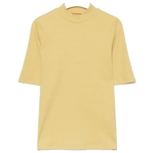 에잇세컨즈 여성 옐로우 솔리드 리브 슬림핏 5부 소매 하프넥 티셔츠 329742LYCE_이미지
