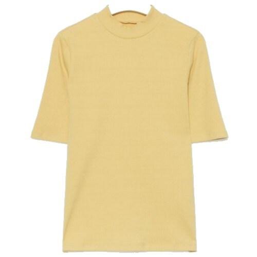 에잇세컨즈 옐로우 솔리드 리브 슬림핏 5부 소매 하프넥 티셔츠 329742LYCE_이미지