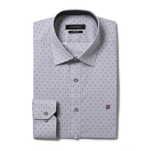 루이까또즈  그레이 물방울 스트라이프 슬림핏 셔츠 Q7C343H_이미지