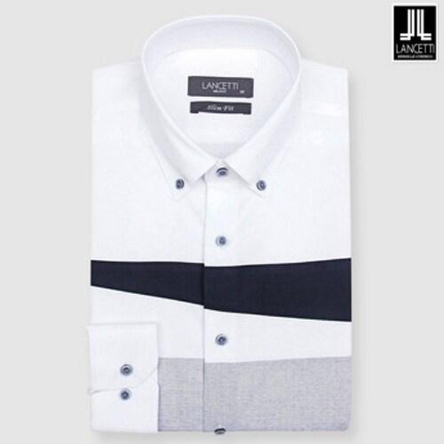 란체티  화이트 가로 블럭 슬림핏 긴소매 셔츠 LPF8228WH_이미지