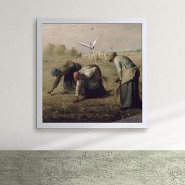 밀레 이삭줍기 액자벽시계 pz032