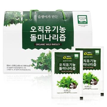 굿모닝비엔에프 즙쟁이 오직 유기농 돌미나리즙 80ml 30포(1개)