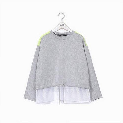지엔코 엘록 여성 루즈핏 메쉬 믹스 티셔츠 E172MTS153W_이미지