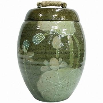 이조전통옹기  녹색 연꽃 쌀항아리 10kg