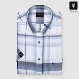 패션그룹형지 예작 네이비 린넨 멀티체크 일반핏 반소매 셔츠 YJ8MBA800NY_이미지