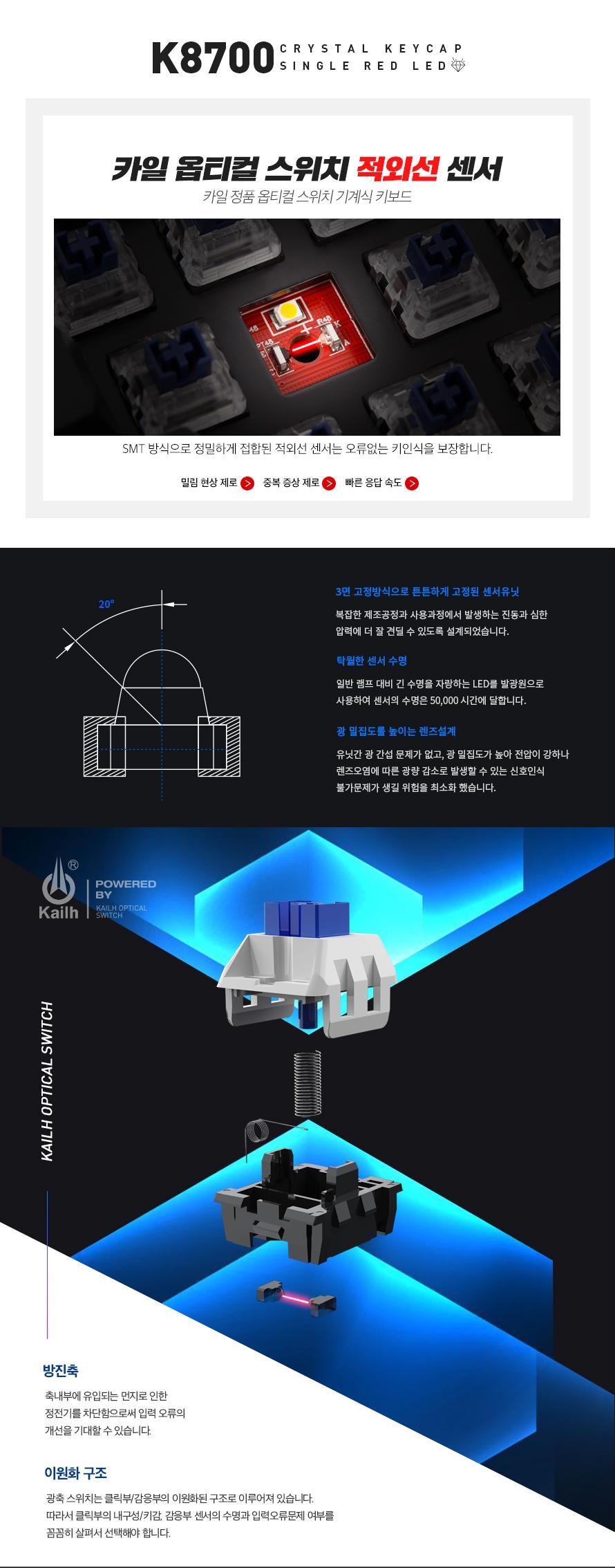 ABKO HACKER K8700 RED LED 에디션 카일 광축 축교환 완전방수 게이밍 (블랙, 클릭)