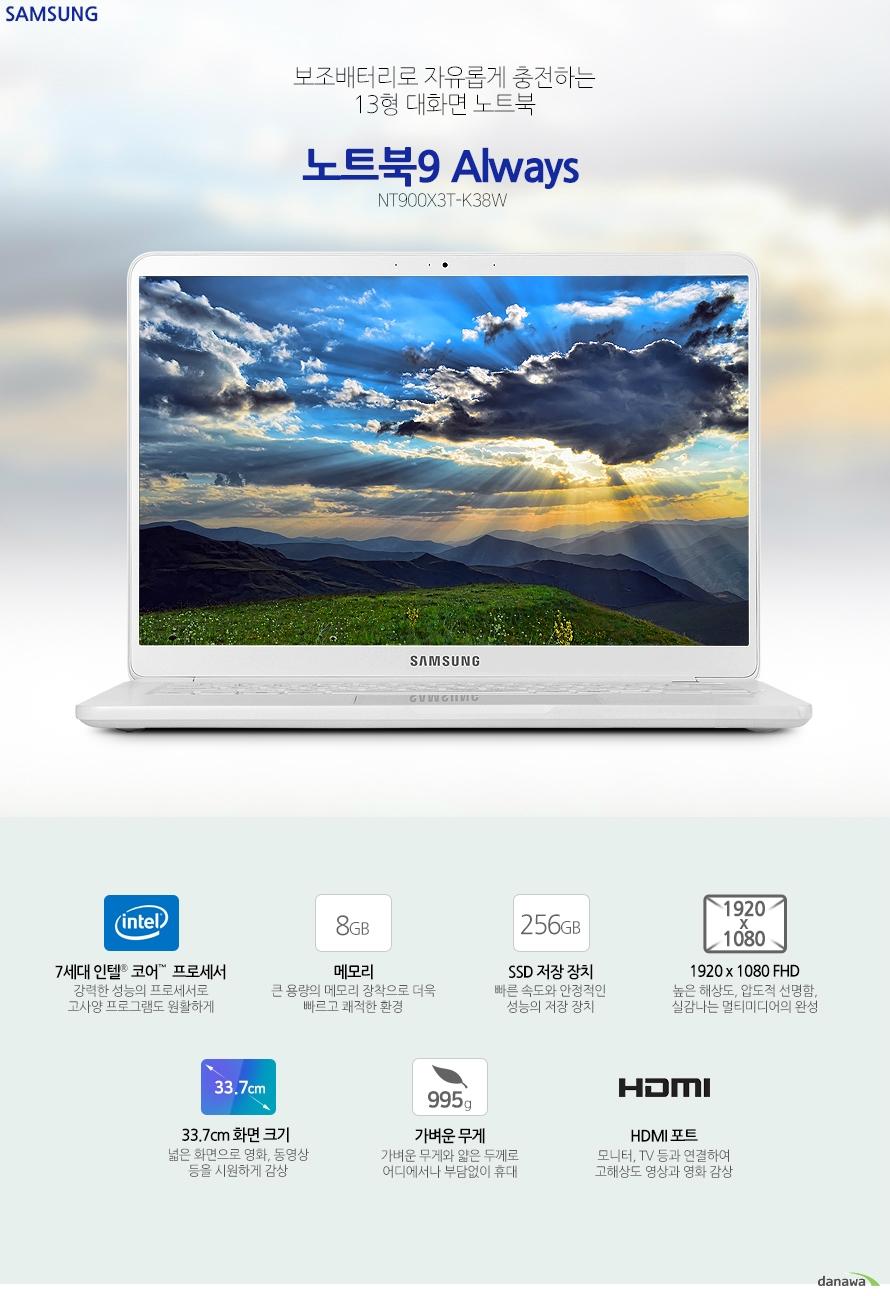보조배터리로 자유롭게 충전하는 13형 대화면 노트북 노트북9 Always NT900X3T-K38W 7세대 인텔 코어  프로세서 강력한 성능의 프로세서로 고사양 프로그램도 원활하게메모리 큰 용량의 메모리 장착으로 더욱 빠르고 쾌적한 환경SSD 저장 장치 빠른 속도와 안정적인 성능의 저장 장치 1920 x 1080 FHD 높은 해상도, 압도적 선명함, 실감나는 멀티미디어의 완성33.7cm 화면 크기  넓은 화면으로 영화, 동영상 등을 시원하게 감상  가벼운 무게 가벼운 무게와 얇은 두께로 어디에서나 부담없이 휴대 HDMI 포트 모니터, TV 등과 연결하여 고해상도 영상과 영화 감상 견고한 내구성과 뛰어난 휴대성 가볍고 슬림한 디자인으로 간편하게 휴대하며 사용할 수 있으며, 견고한 메탈 재질로 내구성이 뛰어나 어디에서나 안심하고 사용할 수있습니다. 전원 충전을 더욱 쉽고 간편하게! 전용 어댑터를 이용하여 휴대폰 충전기, 보조 배터리 등으로 노트북 전원을 간편하게 충전할 수 있습니다. ※정격이 10W(5V, 2A) 이상이고, USB-C™ 또는 USB BC 1.2를 지원하는 외장전원장치(별매품)와 호환됩니다. ※ 휴대용 배터리 및 스마트폰 충전기는 별매품입니다. 안정적인 성능 7세대 인텔 코어 i3-7020U 7세대 인텔 코어 프로세서 장착으로 안정적인 성능과 빠른 속도를 제공합니다. 게임, 인터넷, 영상 등 다양한 기능으로 노트북을 활용하세요. 8GB RAM 큰 용량의 RAM 메모리로 더욱 빠른 PC 환경을 구축하세요. 오랫동안 사용하는 대용량 배터리 큰 배터리 용량으로 한 번 충전해서 오랫동안 노트북을 사용할 수 있습니다. 사무실, 학교, 가정에서는 물론, 여행 혹은 출장 시에 더욱 편리하게 활용할 수 있습니다. 빠른 속도의 작업 환경 구축 256GB SSD SSD 저장 장치로 더욱 빠른 속도의 정보 처리 능력을 제공함으로써 초고속 작업 환경을 만들어줍니다. 언제 어디서나 부담 없이 휴대하는 가벼운 무게 995g 작은 크기의 프로세서와 최적화 설계로 강력하고 뛰어난 성능을 가벼운 무게에 담았습니다. 언제 어디서나 부담 없이 휴대하며 노트북을 사용할 수 있습니다. 놀라운 선명함과 생생함 33.7cm 넓은 화면  넓고 화면 크기와 높은 해상도로 영화, 동영상 등을 더욱 실감나게 즐기세요. 뛰어난 화면 퀄리티로 지금까지 경험하지 못한 새로운 감동을 선사합니다. 선명하고 섬세한 1920 x 1080 FHD 해상도 높은 해상도의 섬세하고 사실적인 표현으로 게임과 영화 등 멀티미디어에서 실감나는 영상과 이미지를 경험할 수 있습니다.    고해상도 디지털 영상을 대형 화면으로 즐기세요. 디지털 영상과 음성을 하나의 포트로 출력이 가능한 차세대 영상신호 인터페이스인 HDMI를 기본으로 장착하여1080p Full HD 영상과 HD 고음질 사운드를 모니터, TV 등 다양한 기기와 연결하여  즐길 수 있습니다. 어둠 속에서 밝게 빛나는 백릿 키보드 밝게 빛나는 키보드의 백라이트 LED로  주변 환경에 구애받지 않고 언제나 쾌적하고 편안하게 사용할 수 있습니다. 키와 키 사이에 간격이 있는 치클릿 키보드를 장착하여 오타가 적고 정확한 타이핑을 할 수 있습니다. 활용성 높은 다양한 확장 포트 스펙 CPU 7세대 인텔 코어 i3-7020U 프로세서 (2.3 GHz, 3 MB L3 Cache) 운영체제 Windows 10 Home 메모리 8 GB DDR4 Memory (On BD 8GB) 저장장치 NVMe M.2 SSD 256 GB ODD 없음 LCD 크기 33.7 cm LCD 종류 LED 백라이트 LCD, 광시야각 해상도 1920 x 1080 (16:9 와이드 FHD, sRGB 95%) 그래픽 인텔 HD 그래픽스 620 LAN 유선: 없음 무선: 802.11 ac 블루투스 블루투스 v4.1 입출력단자 HDMI 1개, 헤드폰 출력/마이크 입력 콤보, DC-in, MicroSD Multi-media Card Reader USB Type C x1개 [최대 5Gbps, 4K 디스플레이 출력(어댑터필요), 충전], USB 3.0 x2개 카메라 있음 크기