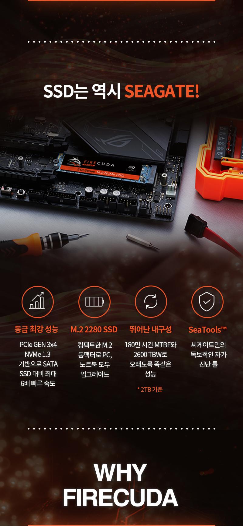 Seagate  파이어쿠다 510 M.2 SSD(1TB)