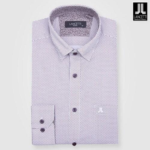 란체티  와인 도트 프린트 일반핏 긴소매 셔츠 LPF8211WI_이미지