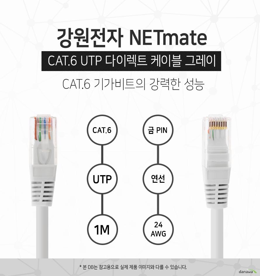강원전자 NETMATE            CAT 6 UTP 다이렉트 케이블 그레이                      CAT 6 기가비트의 강력한 성능                                    CAT 6            UTP            1M            금핀            연선            24 AWG                        본 디비는 참고용으로 실제 제품 이미지와 다를 수 있습니다.