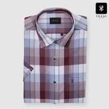 패션그룹형지 예작 와인 미디엄 체크 일반핏 반소매 셔츠 YJ8MBA801WI_이미지