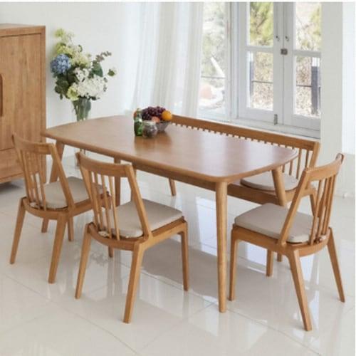 소낭구 캐리 원목 식탁세트 1400 (의자2개+벤치1개)_이미지