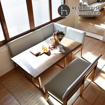 레트로하우스 폰테 리빙다이닝 원목 투게더 식탁세트 1400(의자2개+벤치2개)